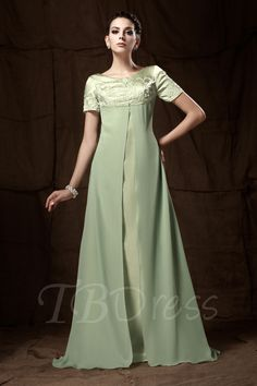 Tbdress.com offers high quality A-line Short-Sleeves Floor-Length Embroidery Taline's Mother of the Bride Dress Vintage Mother Dresses  unit price of $ 110.19.