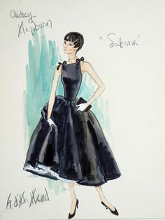Edith Head illustration for Audrey Hepburn in Sabrina http://thefabcorner.com/the-designs-of-edith-head/