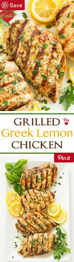 Grilled Greek Lemon Chicken - Ingredients Gluten free Paleo Meat 4 (6 oz) boneless skinless chicken breast boneless skinless halves Produce tsp Basil dried 4 cloves Garlic 1 tbsp Lemon zest 2 tsp Oregano dried 1 Parsley fresh tsp Rosemary dried tsp Thyme dried Condiments 1/3 cup Lemon juice fresh Baking & Spices 1 Salt and freshly ground black pepper Oils & Vinegars 1/3 cup Olive oil #delicious #diy #Easy #food #love #recipe #recipes #tutorial #yummy @mabarto - Make sure to follow cause we…