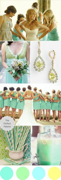 Wedding Colors I Love: Shades of Mint, Green, Aqua + Yellow! | The Perfect Palette