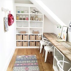 A Nomad runner from Surya adds a subtle dose of color and pattern to this craft room by the interior designers at /houseofjade/ (NOD-100).