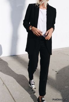 minimal chic black white suit sneakers