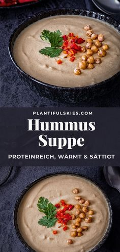 Recipes Snacks Salty Quick, vegetarian and vegan hummus soup. Easy to prepare in a blender or Thermomix. Warms and saturates with extra protein. Light and low in calories. Cooking healthy in winter. Vegan Sweets, Vegan Desserts, Vegan Recipes, Snack Recipes, Protein Recipes, Vegan Food, Chicken Broth Can, Healthy Smoothie, Low Sugar Recipes