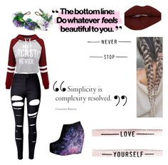 """Be yourself. Never change"" by celestia21 ❤ liked on Polyvore featuring WithChic and Rock 'N Rose"