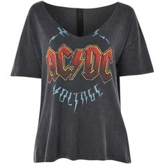 Topshop Acdc Relaxed v Tee (1.385 RUB) ❤ liked on Polyvore featuring tops, t-shirts, topshop, black, slouchy v neck tee, cotton v-neck tee, slouch tee, cotton t shirts and v neck t shirts