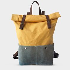 Backpack Rolltop Waxed Canvas Yellow von Phestyn bags and accessories auf DaWanda.com
