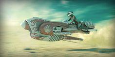 Spass und Spiele — Retro speeder – sci-fi concept by Adrián Scolari