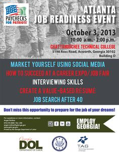 The Georgia Department of Labor is gearing up their combative special workforce assistance team to help veterans in Metro Atlanta. SWAT will host a Job Readiness Kickoff Thursday, Oct. 3, from 10 a.m. to 2 p.m. at Chattahoochee Tech, Building D, 5198 Ross Road in Acworth.   Re-pin this information for your veteran friends!