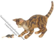 This miniature brown cat is hard at work, trying to catch a mouse in your dollhouse. The cat is posed with his tail and back raised, his ears and front paw demonstrate that he is ready to pounce. The miniature mouse is aware of the danger, and is trying to evade the cat. Functionality: Animals are fixed, but can be separated.  Available at: http://www.thelittledollhousecompany.com/dollhouses-miniatures-furniture-kits/miniature-brown-cat-catching-mouse-for-dollhouses-1/
