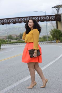 Top: H&M, old (similar here) | Skirt: City Chic+ | Earrings: Vintage (similar here) | Bracelet: Vintage Necklace worn as bracelet (similar here) | Curvy Girl Fashion, Plus Fashion, Women's Fashion, Fashion Stores, Petite Fashion, Fashion Boots, Fashion Trends, Moda Feminina Plus Size, Orange Skirt