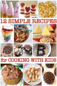 Simple Cooking for Kids 12 Delicious (and Easy!) Recipes to Try is part of Kids cooking recipes - Looking for ideas for simple cooking with kids Check out these 12 fun and easy recipes that are great for cooking with preschoolers and school aged kids Cooking With Kids Easy, Easy Meals For Kids, Cooking Classes For Kids, Baking With Kids, Cooking For One, Fun Cooking, Kids Meals, Cooking Games, Cooking School