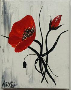Tableau moderne coquelicots en rouge et noir peinture acrylique sur toile ch ssis plat 50x50 for Peinture acrylique sur toile
