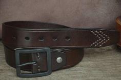Men's Leather Belt / Dark Brown Cowhide Leather Belt / Classic Belt by SherryJewelry, $27.00
