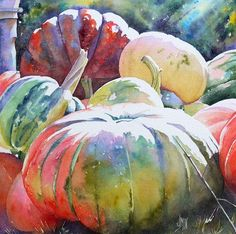 Beautiful use of white (or negative painting) for the brightness of sunshine. Watercolor Fruit, Fruit Painting, Watercolor Landscape, Watercolour Painting, Watercolor Flowers, Painting & Drawing, Watercolors, Watercolor Pictures, Pumpkin Art