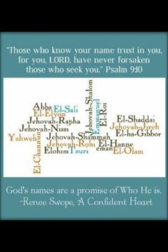 Find comfort in knowing His name