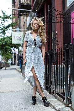 striped dress, shirt dress, summer, blonde, boots, girlie, casual, fashion