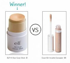 ELF Dupes for Expensive makeup: ELF Cover Stick VS Cover Girl Concealer. I buy this concealer, the ELF one, it really works! Eye Makeup, Drugstore Makeup, Makeup Brands, Makeup Brushes, Best Elf Makeup, Crown Makeup, Makeup App, Elf Makeup Dupes, Clinique Makeup