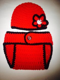 Lady Bug Diaper Cover Set by LoopzyCreations on Etsy