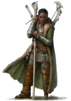Love the handle design of the sword and staff <> f Cleric Peg Leg Leather Cloak Longbow Sword Short Sword RPG Female Character Portraits High Fantasy, Fantasy Rpg, Medieval Fantasy, Fantasy Life, Fantasy Races, Black Characters, Fantasy Characters, Female Characters, Fantasy Figures
