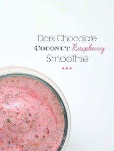 Dark Chocolate Coconut Raspberry Smoothie (delicious and healthy!) twintough.com #smoothie #recipe