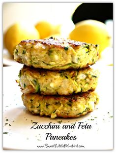 Zucchini and Feta Pancakes -  Delicious!!!  |  SweetLittleBluebird.com