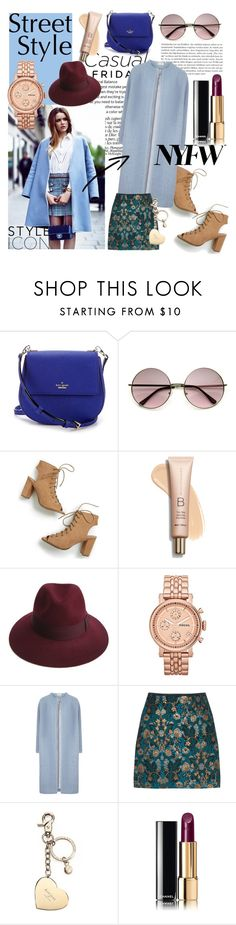"""NYFW"" by sandralalala ❤ liked on Polyvore featuring Kate Spade, Justine Hats, FOSSIL, Aspinal of London and Chanel"