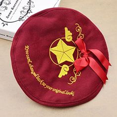 Amazon.com: Cute Card Captor Girl Cosplay Beret Hat Sakura CCS Bowknot Star Key Cap 1 Pc: Clothing