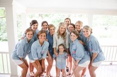Monogrammed chambray shirts for getting ready with your bridesmaids and flower girl! {Ardent Story Photography}