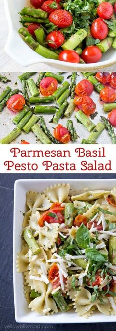 Parmesan Basil Pesto Pasta Salad. Great healthy side dish recipe.