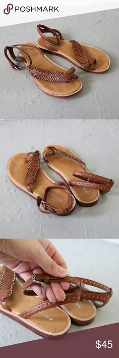 c4f6928be85af2 Coach Beach Feather Sandal in Brown Saddle Size 6 adorable sandals with  feather motif and studs
