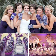 Winter Wedding Inspiration | Purple Palette @Kiersten Stouder. I think we should all do a picture of us in mittens. so adorable!