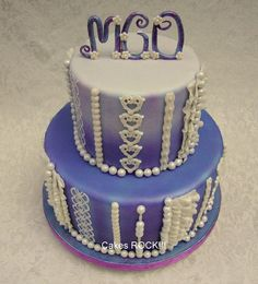 Ombre Purple Sweet Sixteen Cake - by CakesRock @ CakesDecor.com - cake decorating website