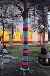 Newest yarn bombing in Austin TX! I love this but worry if it hurts the trees?