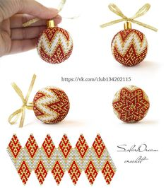 Schemen für Weihnachtskugeln von S . Bead Crochet Patterns, Bead Crochet Rope, Beading Patterns, Seed Bead Jewelry, Bead Jewellery, Beaded Ornament Covers, Beaded Christmas Ornaments, Christmas Balls, Beaded Crafts