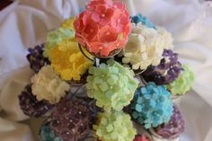 Lovely 180 hydrangea fondant flowers are about 1x1 inches. Each flower is handcrafted from homemade marshmallow fondant: they are delicious,