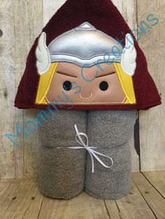 """Stack Stack Thunder Hero Applique Hooded Bath, Beach Towel Cover Up 30"""" x 54""""  Personalization Available by MommysCraftCreations on Etsy"""