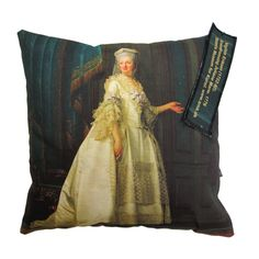 The Queen who started Danish Royal Porcelain Factory making Royal Copenhagen china -Dowager Juliane Marie 1776 Eriksen Vigilius,   Inner pillow sold separately   100% cotton canvas 45x45Front printed, back is solid cotton canvas.   Statens Museum for Kunst / National Gallery of Denmark. www.smk.dk      Presse/Media: Omtalt i Isabellas, nr. 1, 2013