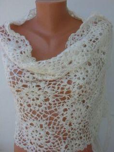 Crochet Shawl Ivory Shawl