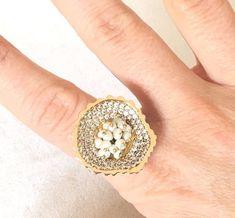 Kosem Sultan Ottoman Turkish Handmade Sterling Silver Pearl & Topaz Ring Size 8  | eBay