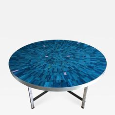 Berthold Muller - Blue Mosaic Coffee Table Berthold Mueller-Oerlinghaus, Germany, offered by Coroto on InCollect Custom Furniture, Contemporary Furniture, Contemporary Design, Mosaic Coffee Table, Coffe Table, Mosaic Furniture, Table Furniture, Blue Mosaic, Vintage Coffee