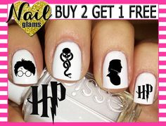 60 Nail Decals - HARRY Potter Combo 5 - Dark Mark Snape Glasses Scar - Nail Art by NailGlamsNailDecals on Etsy