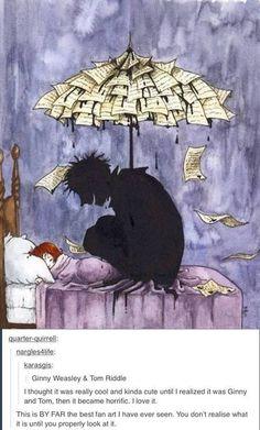 Como fan art esta muy bueno, como Ginny y Tom Riddle es espeluznante y horrible.