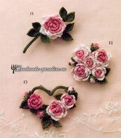 Букетики цветов. Вязаные крючком украшения (2)