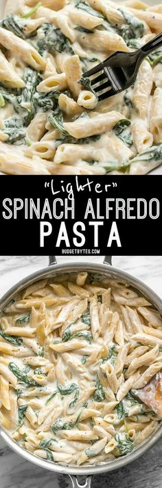 Creamy and rich, yet never heavy, this Lighter Spinach Alfredo Pasta is an easy and satisfying comfort food. Creamy and rich, yet never heavy, this Lighter Spinach Alfredo Pasta is an easy and satisfying comfort food. Vegetarian Recipes, Cooking Recipes, Healthy Recipes, Spinach Pasta Recipes, Vegetarian Pasta Dishes, Spinach Bake, Delicious Recipes, Spinach Alfredo, Vegetarian