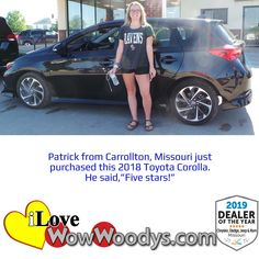 This looks like a match made in heaven, congratulations on your purchase! 🎉 #wow #wowwoodys #woodysautomotive #cars #trucks #suvs #carsforsale #trucksforsale #suvsforsale #kansascity #chillicothe #customerreviews #customertestimonials #wowcarbuying #carshopping #happycustomers #2018toyotacorolla #toyotacorolla #toyota #corolla