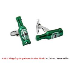 Beer Bottle Cufflinks Green Price: USD $25 Details: These Beer Bottle Cufflinks are made from Brass-Alloy base matel, Shiny Green enamel coloring and detailing. Exclusive new design with very detailed work and finishing. Each Pair is packed in Black Exclusive Rudolph Alexander Gift Box.  #rudolphAlexander #freeshipping #cufflinks #seller #sellershop #sellers #gift #metal #giftbox #silver #beer #beerCufflink #beerBottle