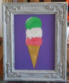Ice Cream Painting, Green Ice Cream, Kitchen Art, Kitchen Decor, Distressed Frames, Etsy Crafts, Dessert, Craft Fairs, Decoration