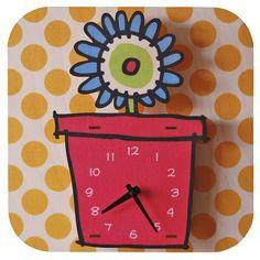 Modern Moose Flowerpot Clock (Red)
