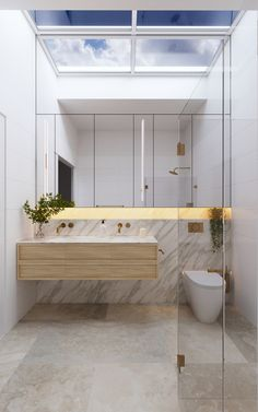 Glass-roof -Indoor Skylights: 37 Beautiful Examples To Tempt You To Have One For Yourself Skylight Bathroom, Basin Sink Bathroom, Copper Bathroom, Bathroom Sets, Bathroom Goals, Luz Natural, Skylight Design, Architecture Design, Fibreglass Roof