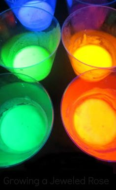 Make your own glow in the dark watercolor paints in a rainbow of colors.  Easy to make and so beautiful for night time painting